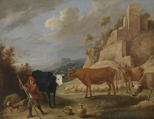 17th Century Art Art Print featuring the painting A Shepherd With His Flock In A Landscape With Ruins by David Teniers the Younger