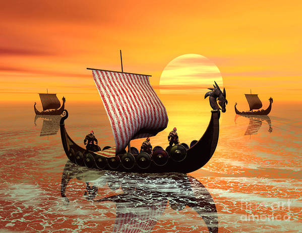 The Vikings Are Coming Art Print featuring the digital art The Vikings Are Coming by John Junek