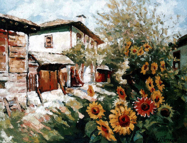 Summer Art Print featuring the painting A Village In Summer by Iliyan Bozhanov