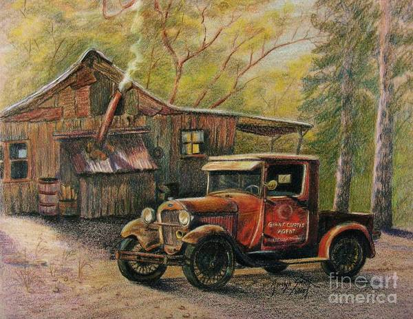 Old Trucks Art Print featuring the drawing Agent's Visit by Marilyn Smith