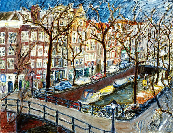 Cityscape Amsterdam Canal Trees Bridge Bicycle Water Sky Netherlands Boats Art Print featuring the painting Amsterdam Canal by Joan De Bot