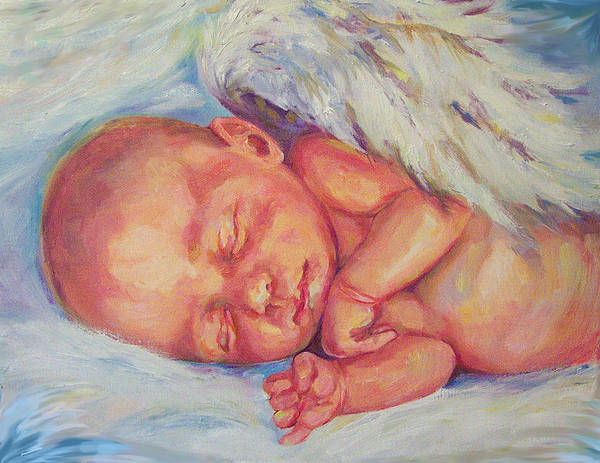 Baby Art Print featuring the painting Angel Baby by Peggy Wilson
