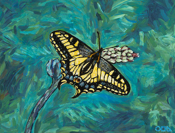 Art Print featuring the painting Anise Swallowtail by Steve Lawton