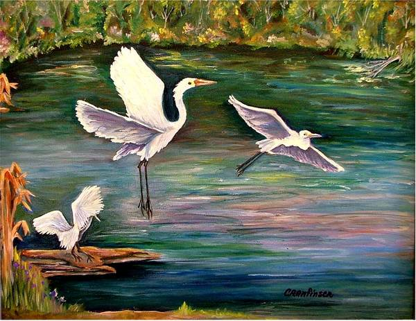 Egrets Art Print featuring the painting Arabesque by Carol Allen Anfinsen