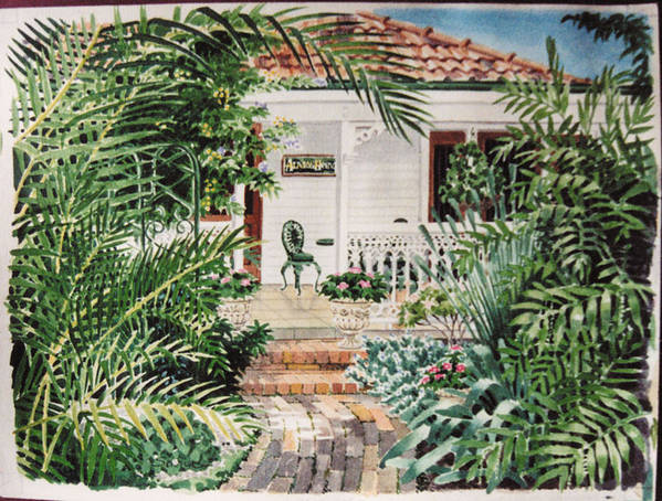 Art Print featuring the painting Ashgrove Palms by Serena Valerie Dolinska