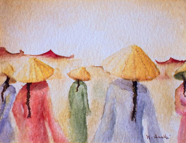 Asian Art Print featuring the painting Asian Elegance by Angela Anelli