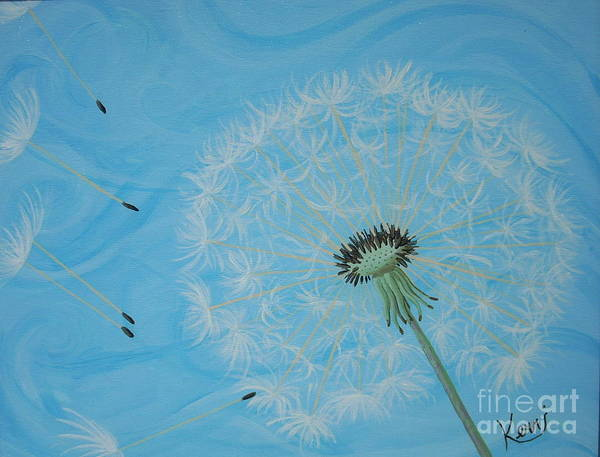 Dandelion Art Print featuring the painting Attack On The Garden by Kerri Ertman