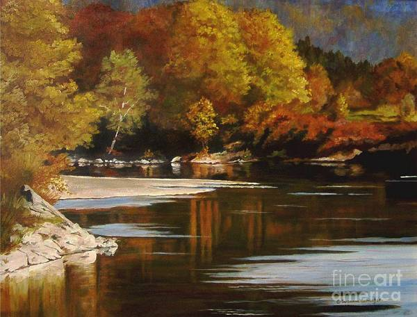 Scene Art Print featuring the painting Autumn Along The Stillaguamish by Suzanne Schaefer