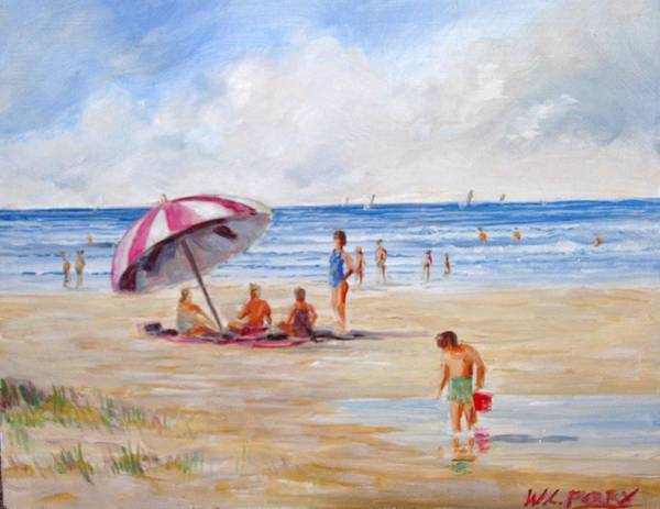 Beach Art Print featuring the painting Beach With Umbrella by Perrys Fine Art