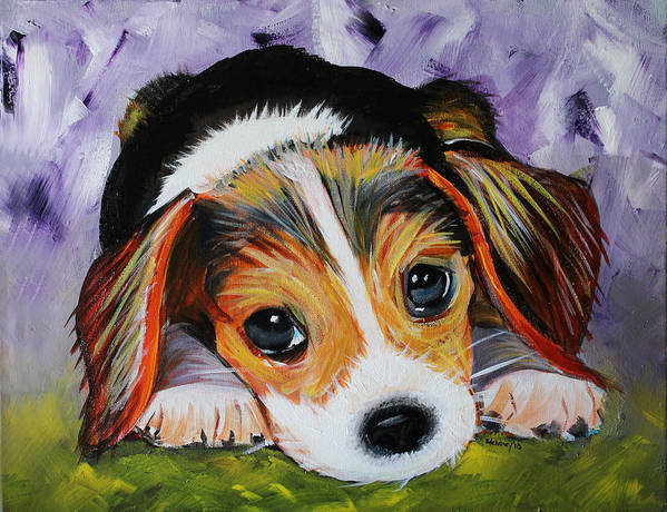 Beagle Art Print featuring the painting Beagle Pup by Sonya Delaney