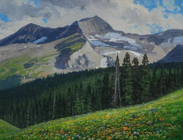 Landscape Art Print featuring the painting Bear Peak by Lanny Grant