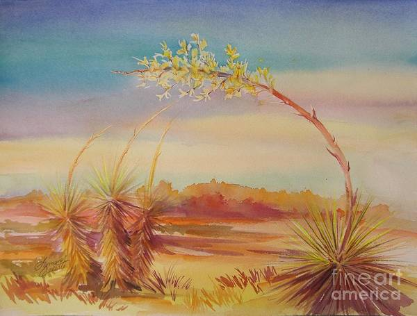 Desert Art Print featuring the painting Bending Yucca by Summer Celeste