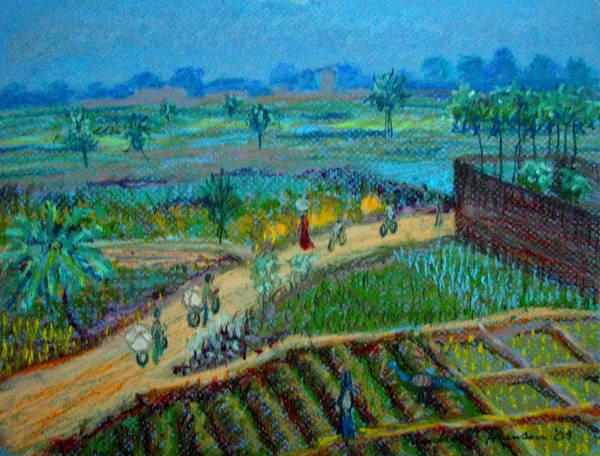 Artnomad Art Print featuring the pastel Betawar Road by Art Nomad Sandra Hansen