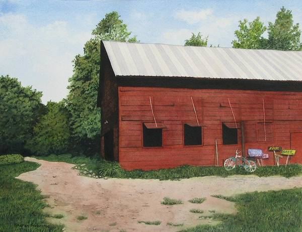 Landscape Art Print featuring the painting Big Red Barn by Sharon Farber