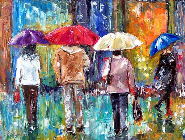Rain Art Print featuring the painting Big Red Umbrella by Debra Hurd