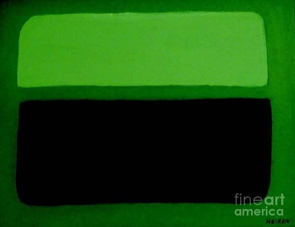 Painting Art Print featuring the painting Black On Dark Green And Medium Green by Marsha Heiken