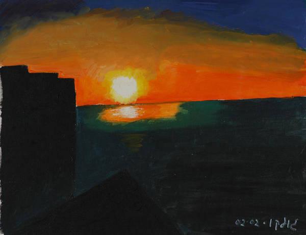 Seascape Art Print featuring the painting Blazing Sunset by Harris Gulko