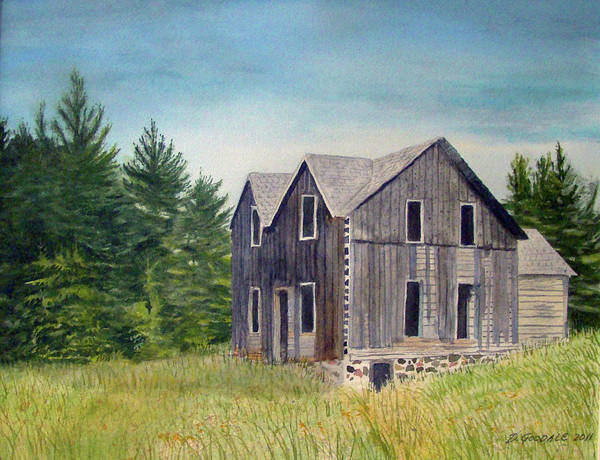 Old Buildings Art Print featuring the painting Blind River Homestead by Doug Goodale