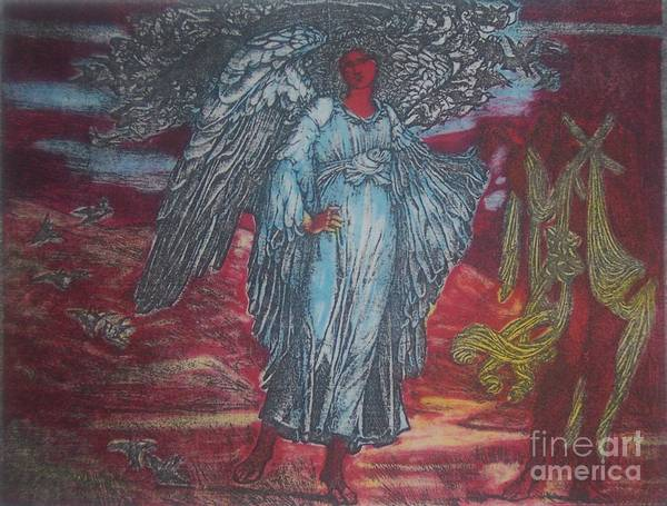 Angel Art Print featuring the mixed media Blue Angel by Emily Young