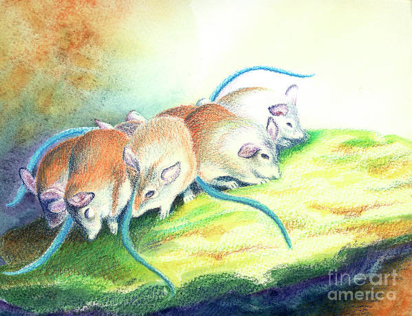 Mice Art Print featuring the painting Blue Tailed Society by Tracy L Teeter
