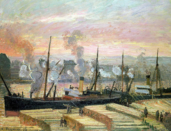 Sunset At Rouen Art Print featuring the painting Boats Unloading Wood by Camille Pissarro