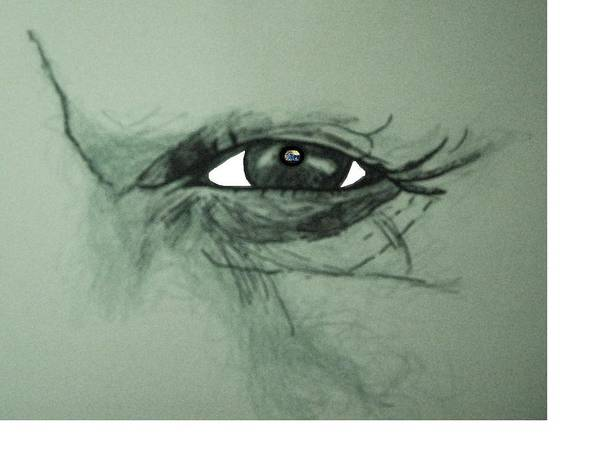 Soul Art Print featuring the drawing Bob Dylans Eye Undestanding His Soul by Richard Hubal