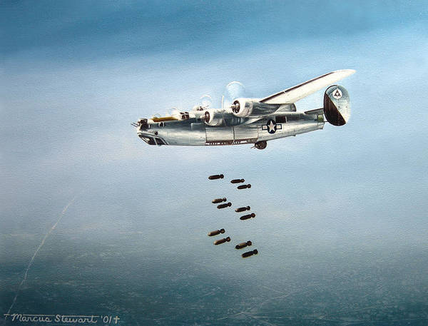 Aviation Art Print featuring the painting Bombs Away by Marc Stewart