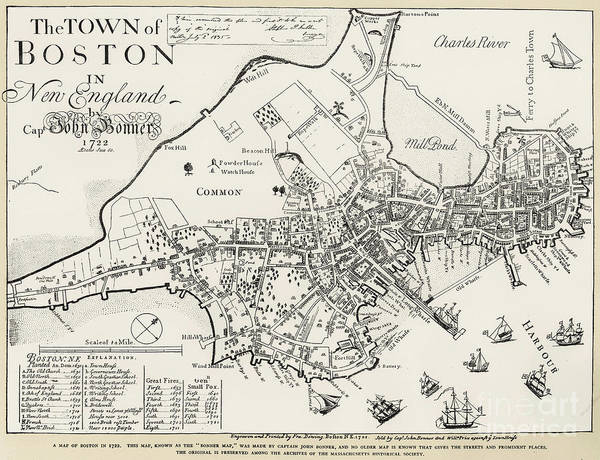 1722 Art Print featuring the photograph Boston Map, 1722 by Granger