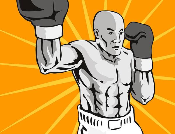 Boxer Art Print featuring the digital art Boxer Boxing Knockout Punch Retro by Aloysius Patrimonio