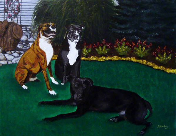 Boxer Art Print featuring the painting Boxer Pitbull Mix by Amanda Schambon