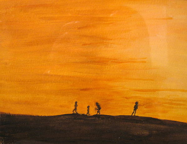 Boys Art Print featuring the painting Boys At Sunset by Ian MacDonald