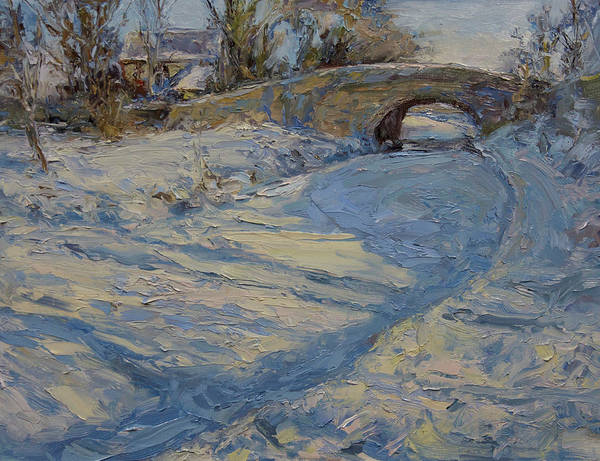 Snow Art Print featuring the painting Bridge Over Lancaster Canal by James Swanson