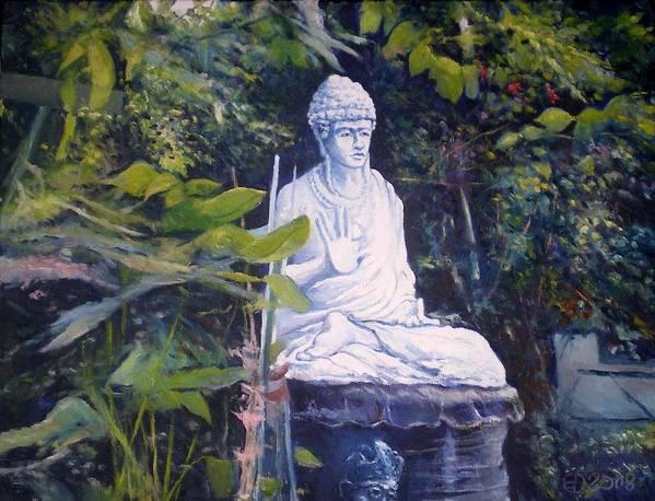 Budha Art Print featuring the painting Budha Ubud Bali Indonesia 2008 by Enver Larney