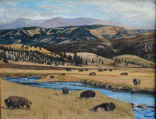 Colorado Art Print featuring the painting Buffalo By A Stream by Paul Larson