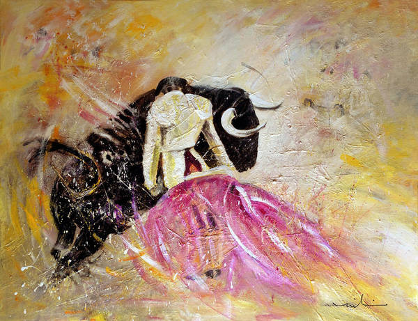 Animals Art Print featuring the painting Bullfight 74 by Miki De Goodaboom