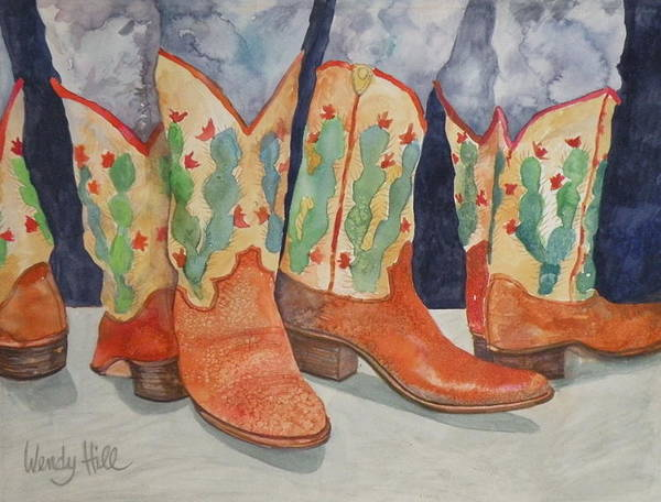 Boots Art Print featuring the painting Cactus Boots by Wendy Hill