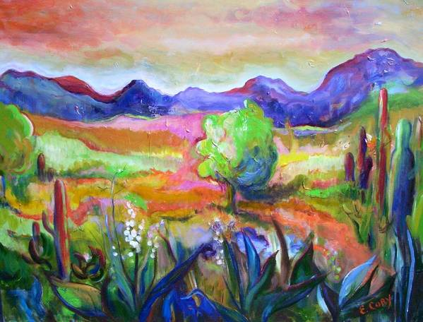 Landscape Art Print featuring the painting Cactus Spring by Elaine Cory