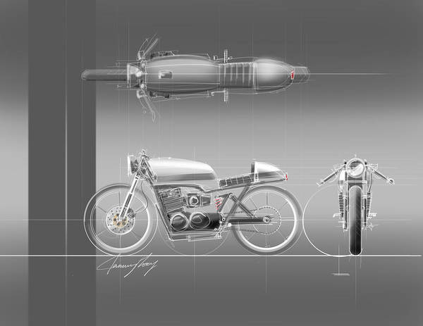 Hot Rod Art Print featuring the drawing Cafe Racer by Jeremy Lacy