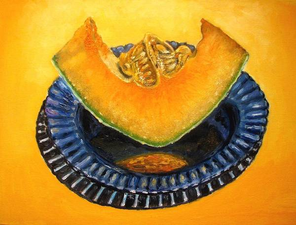 Cantaloupe Art Print featuring the painting Cantaloupe Oil Painting by Natalja Picugina