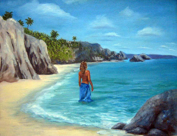 Landscape Art Print featuring the painting Caribean Dreaming by Anne Kushnick