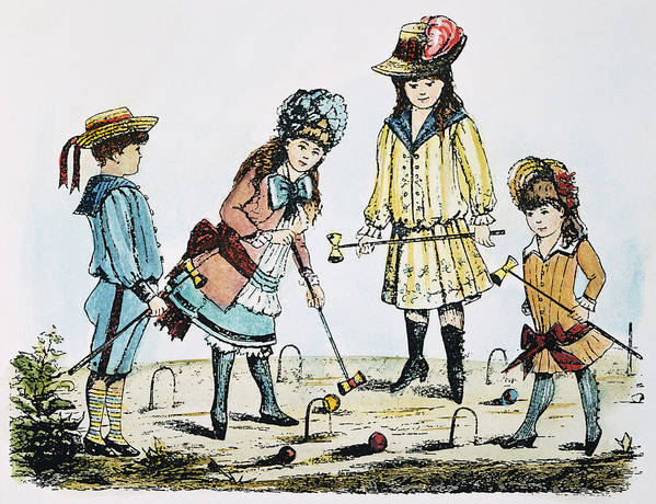 19th Century Art Print featuring the photograph Children Playing Croquet by Granger