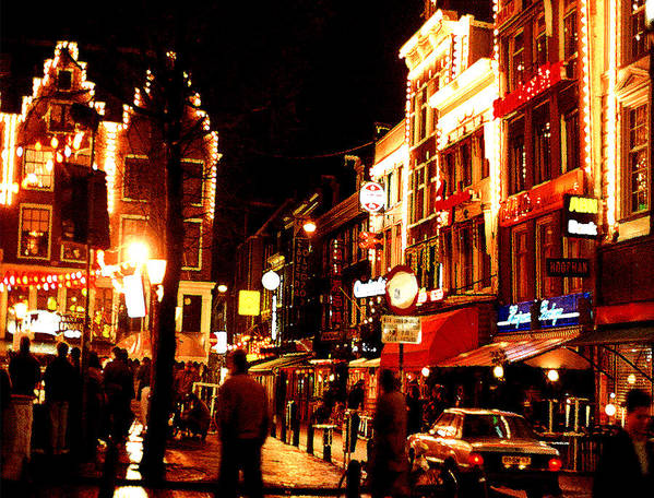 Night Art Print featuring the photograph Christmas In Amsterdam by Nancy Mueller