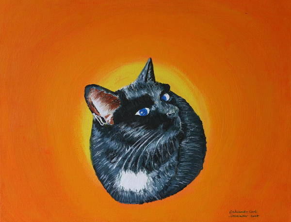Cat Animal Pet Acrylic Cute Art Print featuring the painting Ciara by Eckland Cort