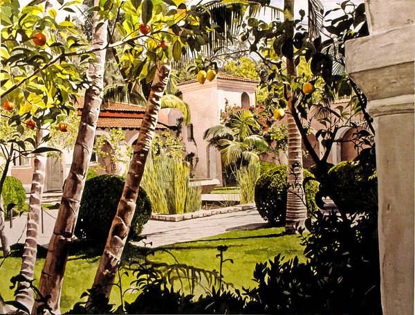 Gardens Art Print featuring the painting Citrus Courtyard by David Lloyd Glover