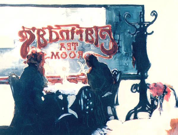 Tea Art Print featuring the painting Clarinda's Tea Room by Linda Crockett
