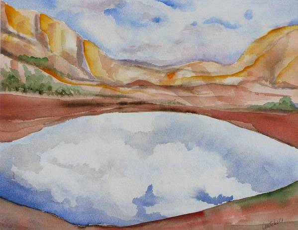 Landscape Art Print featuring the painting Cloudy Reflections by Kathy Mitchell