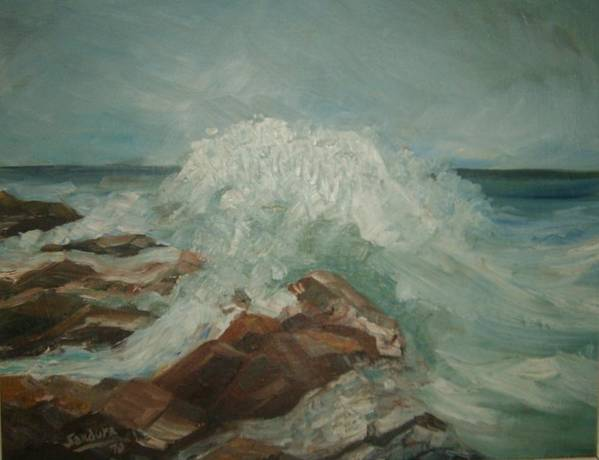 Ocean Surf Rocks Seascape Art Print featuring the painting Coastal Waters by Joseph Sandora Jr