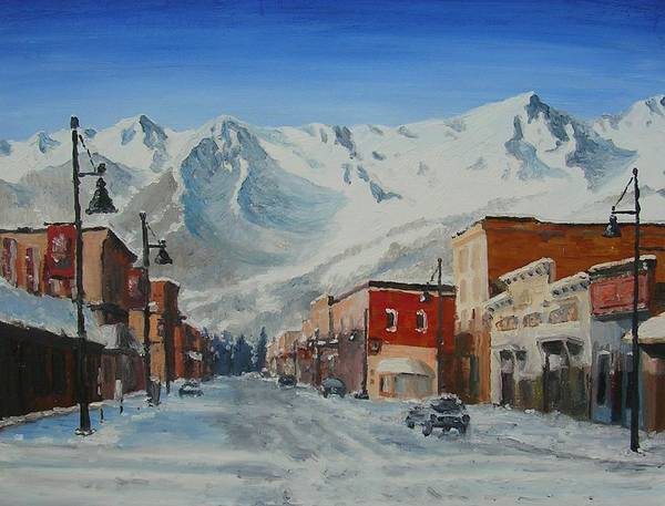 Cityscape Art Print featuring the painting Cold Montain by Janos Szatmari