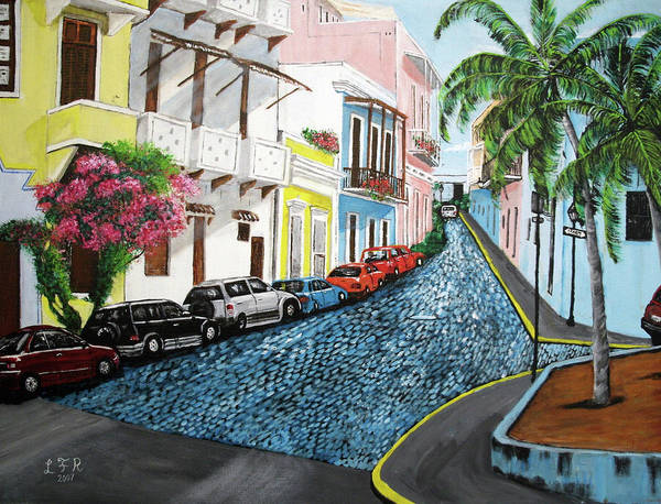 Old San Juan Art Print featuring the painting Colorful Old San Juan by Luis F Rodriguez