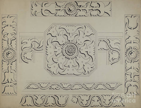 Art Print featuring the drawing Connecticut-type Hadley Chest-detail Of Central Panel by Martin Partyka